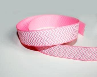 20 mm, 1 m pink and white Chevron Ribbon, Ribbon grosgrain Chevron print, non adhesive