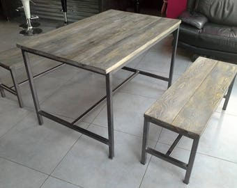 industrial furniture + 2 bench dining room table