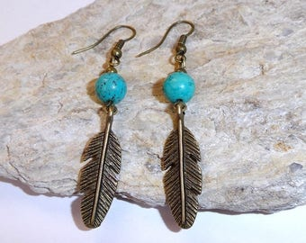 "Earrings feather ""Cheyenne"" metal and Pearl."