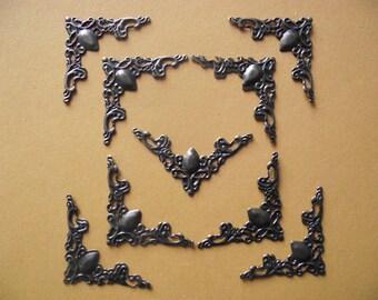set of 40 corners, angles, filigree embellishments. Antique bronze color