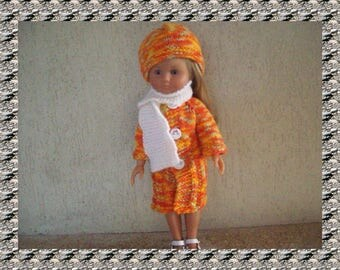 clothes for dolls 32/33 cm (coat, hat, scarf) Orange, suitable for sweethearts