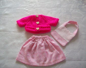 clothes for dolls 32 33 cm, with babies (skirt cotton print: flowers with vest or sweater, matching bag