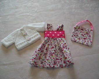 clothes for dolls 32/33 cm (dress, vest, bag) cotton print