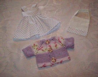 clothes for dolls 32/33 cm (dress, vest, bag) cotton printed with purple dots mini