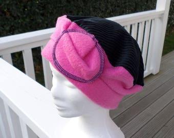Bonnet chapeau béret polaire et velours cotelé enfant confortable unique  hiver 5db5592d441