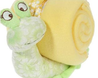 Stuffed snail and blanket personalized with a name