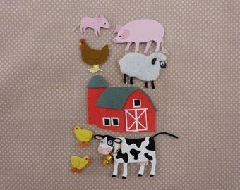 """Farm animals"" sheet of stickers 3D"