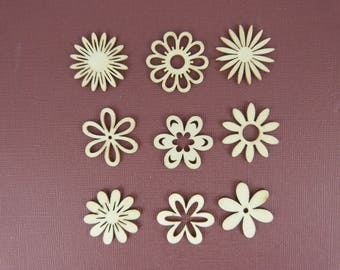 Wooden subjects embellishment: 4 wooden rosettes