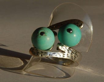 Ring 2 pearls Turquoise on silver ring scratched high quality