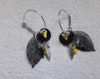 Kit yellow and black earrings for pierced ears