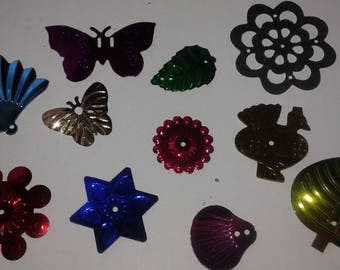 glitter, sequins mixed shapes and sizes x 100 flowers and shells