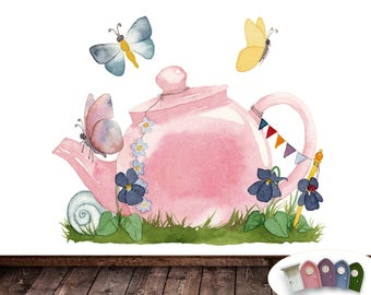 Fairy door wall stickers teapot