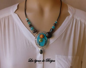 Necklace pendant long elegant polymer clay and glass Pearl turquoise blue and black