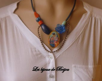Hippy chic Necklace blue, orange and green