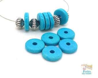 Turquoise: 10 beads matte ceramic rondelles, 2.5x12mm, Greece (pc177)