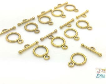 10 round Toggle clasps gold antique (f74)