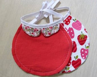 Set of two bibs-assorted strawberries and floral Rose with collar