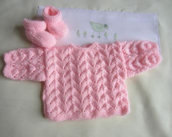 """Jacket and booties size baby birth """"rose"""""""