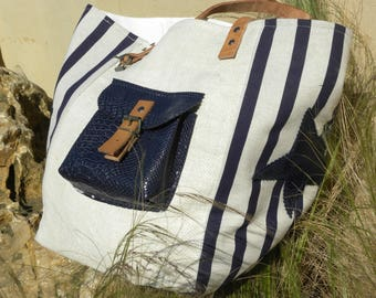 Striped Tote Navy Blue and beige