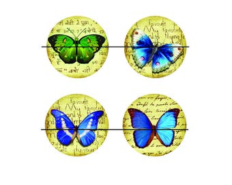 SALE 25 mm 4 nice Cabochons glass 25 mm Butterfly craft