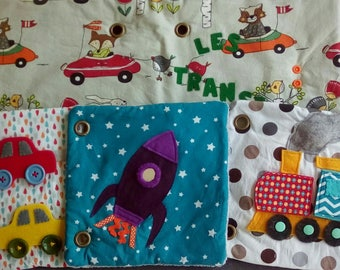Book educational fabric on the theme of transport
