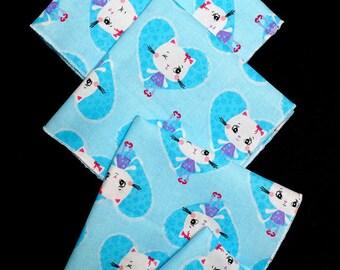 "SET of 5 handkerchiefs ""Turquoise Kitty"" fabric"