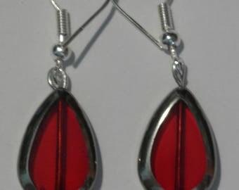 """Earrings """"red Teardrop'"""