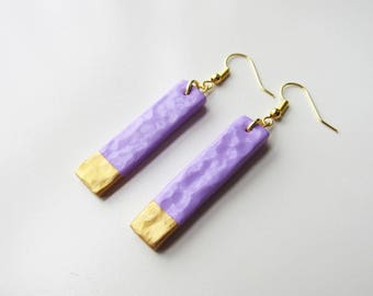 Rectangle lilac and gold effect polymer clay Pearl Earrings