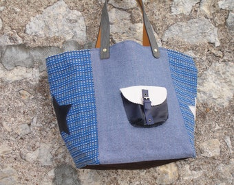 Blue woven canvas and leather tote bag