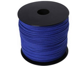5 meters of cord Suede, 3mm, Royal Blue flat cord