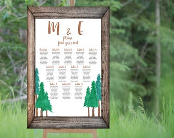 Forest 1 Printable Custom Wedding Seating Chart, Wedding Seating Poster, Wedding Chart Sign, Wedding Seating Board