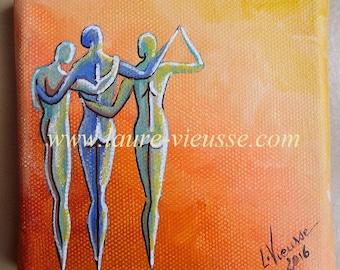 Friendship, acrylic on canvas, size 10 x 10 cm