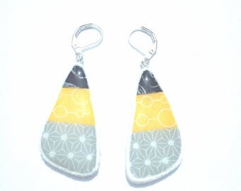 Earrings in polymer clay black, yellow and gray with white print (Fimo, cernit, Sculpey, Premo)