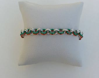Orange green silver tri-color aluminum chain bracelet