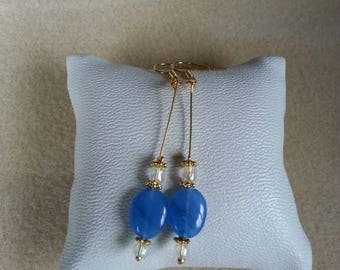 gold plated earrings and blue agate stone imitation glass bead
