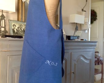 Vintage fabric apron dyed blue, Scandinavian decor
