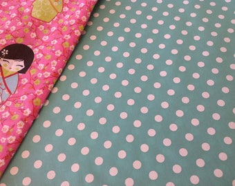 100% cotton fabric, 8 mm white polka dots