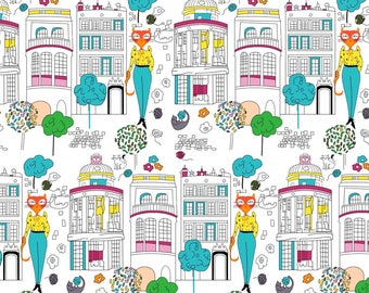 New, 100% cotton fabric printed with cats city
