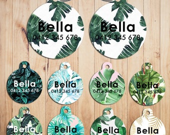 Metal Steel Personalized Pet Tags cat Tag dog Tag Custom ring Name Tags Banana leaf Pattern print