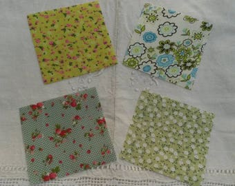 4 miniatures 9.5 X 9.5 cm / matching liberty fabric / shades of pink and green
