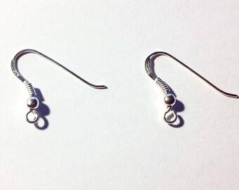 pair of 925 sterling silver ear hooks (92.5% Silver)-gift idea