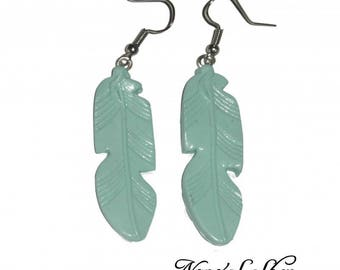 Feather earrings, Fimo Mint
