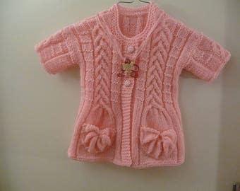 Girls 4t jacket short sleeve hand knit light pink