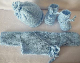 baby jacket hand-knitted hat and blue slippers