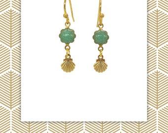 Boucles d'oreille, bijoux sirène, boucle bohème, boucle vert pailleté, cadeau pour elle, boho mermaid, pendentif coquillage, mermaid jewelry
