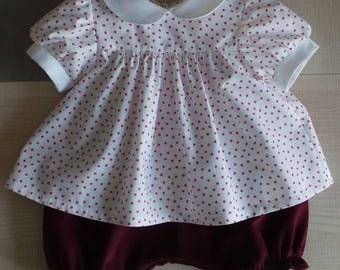 cotton and velvet bloomer blouse set 12 months