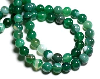 10pc - stone beads - green Agate beads 8mm - 8741140000599