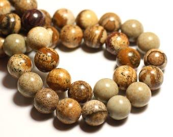 5pc - stone beads - Beige Jasper balls 10mm - 8741140015739