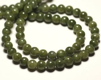 20pc - stone beads - Jade balls 6 mm light khaki green - 4558550013798