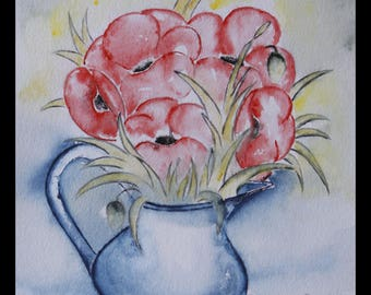 pretty creabijoux - summer 2014 illustration original watercolor on arche paper collection. SOLD hes poppies!